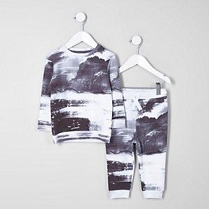 Mini - Outfit met grijs sweatshirt met bergprint voor jongens