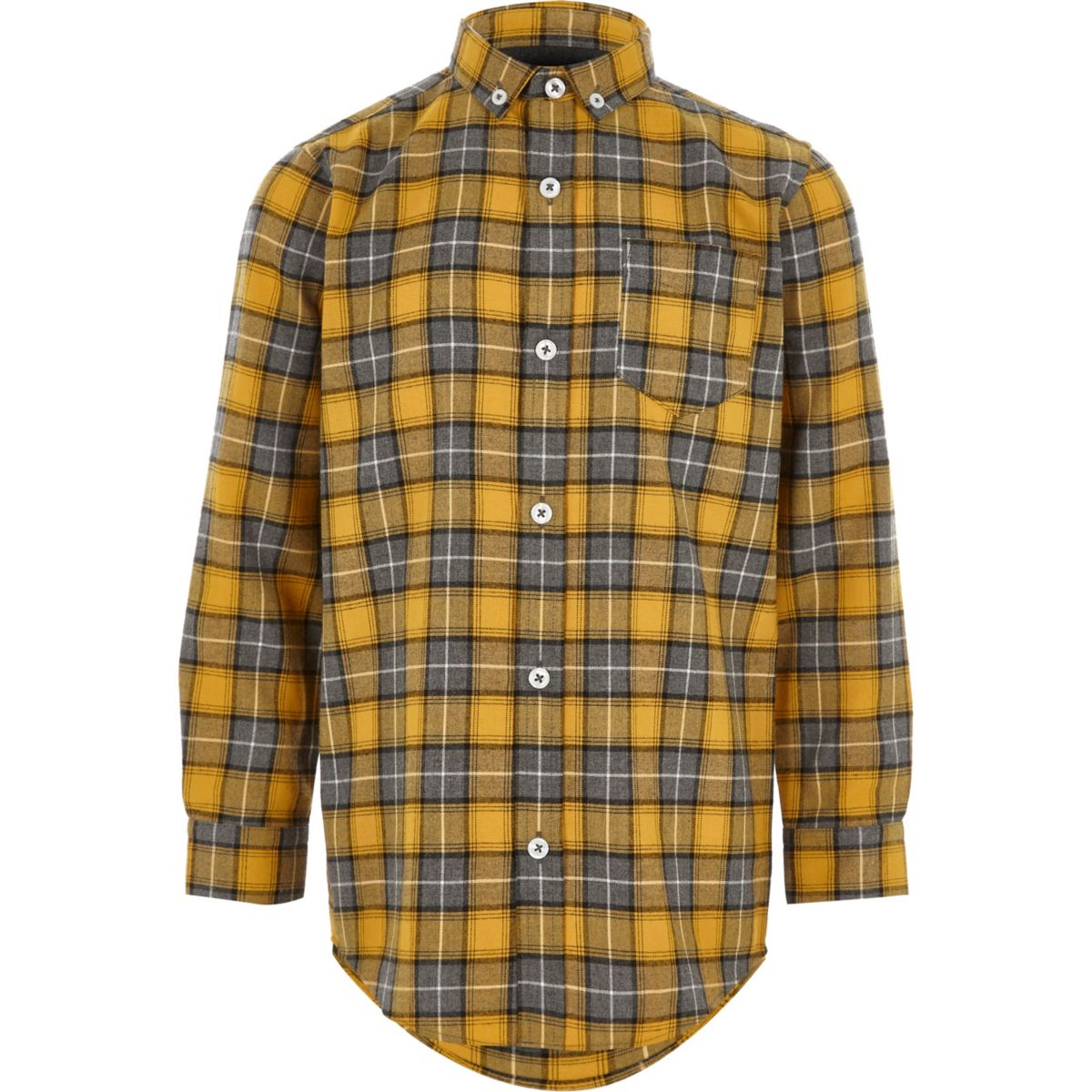 Boys yellow check long sleeve shirt