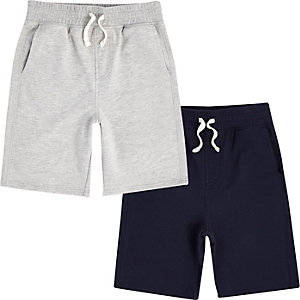 Boys navy and grey jersey shorts