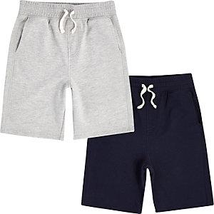 Jersey-Shorts in Marineblau und Grau