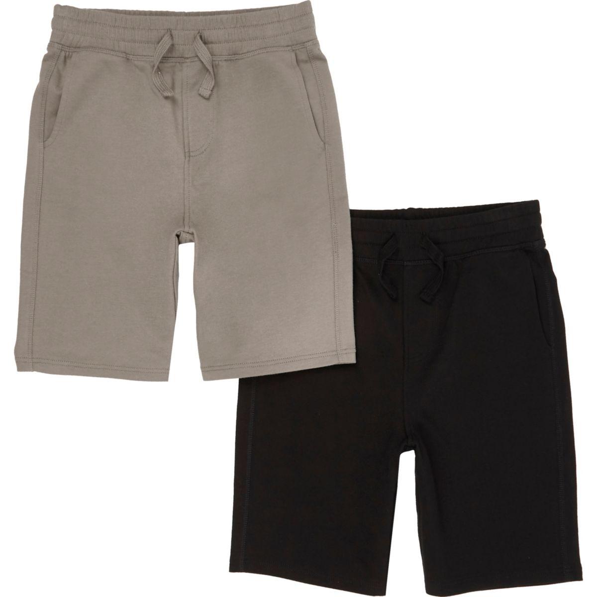 Short en jersey noir et kaki pour garçon