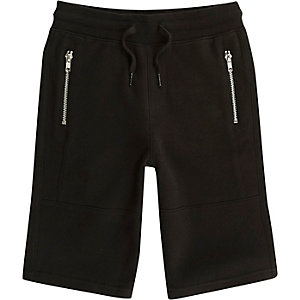 Boys black pique zip pocket shorts