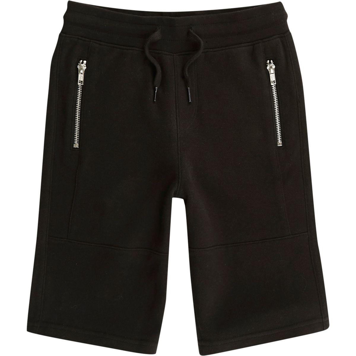 Boys black pique zip pocket shorts