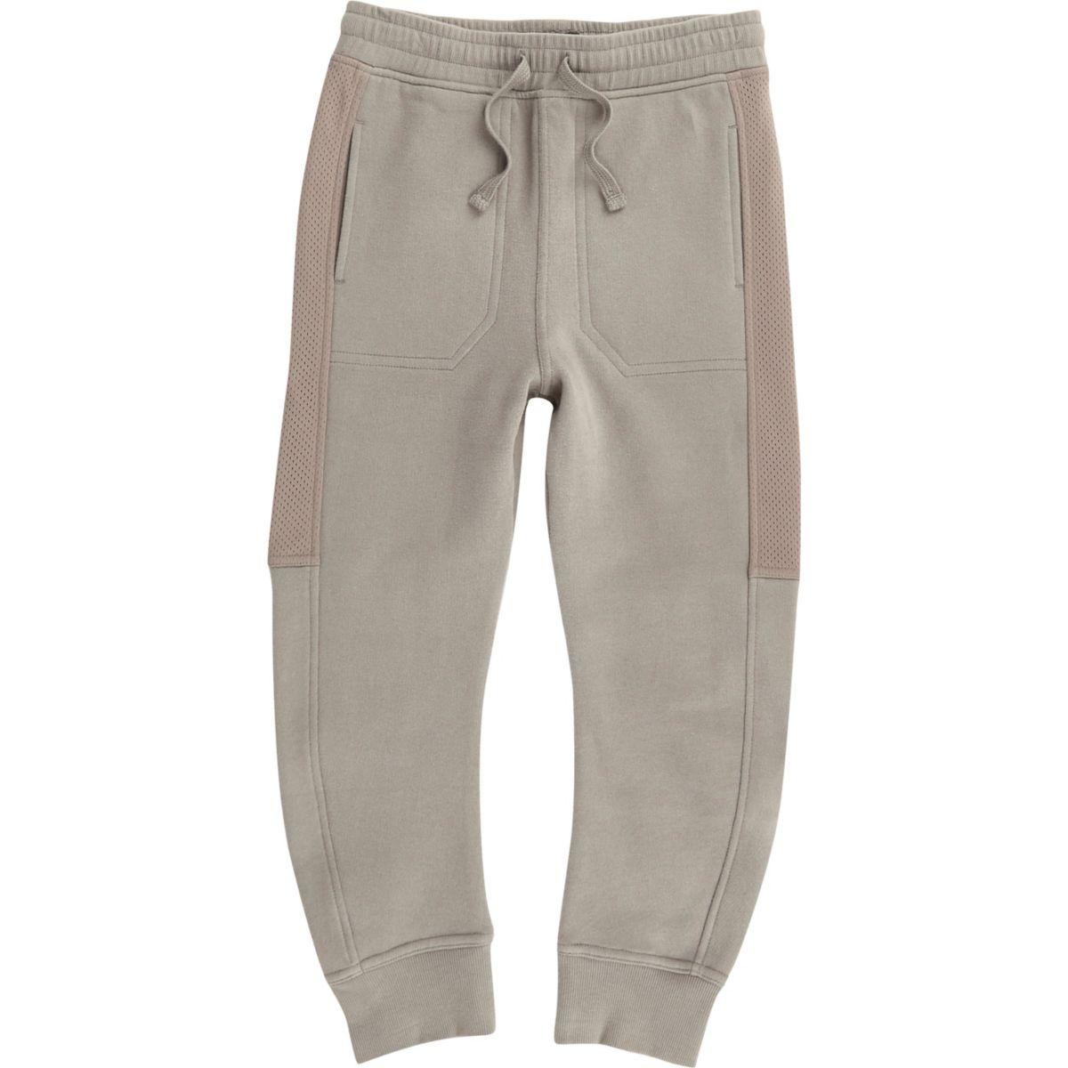 Pantalon de jogging gris avec maille sur les côtés pour garçon