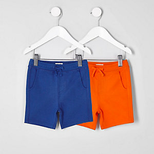 Lot de shorts bleu et orange mini garçon