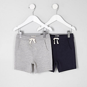 Shorts in Grau und Marineblau, Set