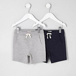 Mini - Multipack grijze en marineblauwe shorts voor jongens