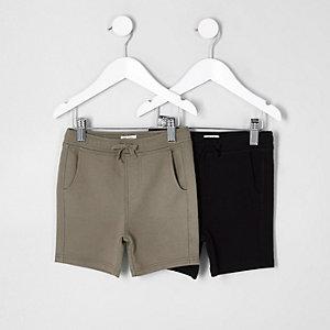 Shorts in Schwarz und Khaki, Set