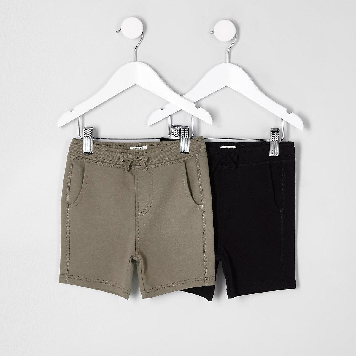 Mini boys black and khaki shorts multipack