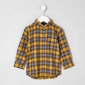 Chemise à carreaux jaune à manches longues mini garçon
