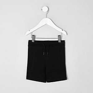 Mini boys black pique shorts