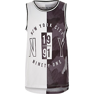 Boys grey 'New York City' print mesh tank