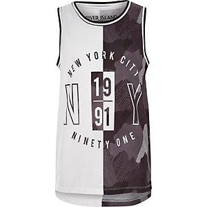Grijs hemdje met mesh en 'New York City'-print voor jongens