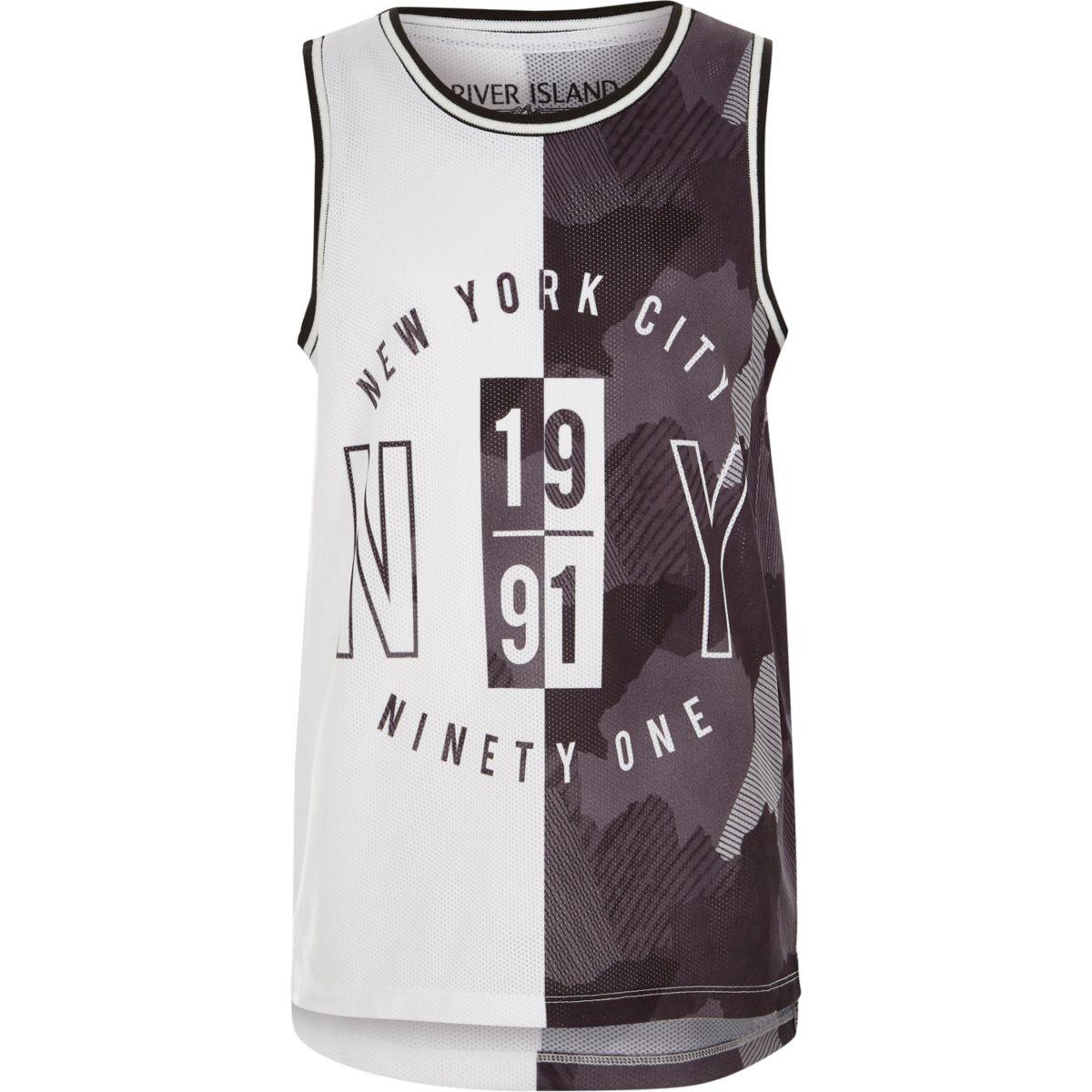 Boys grey 'New York City' print mesh vest