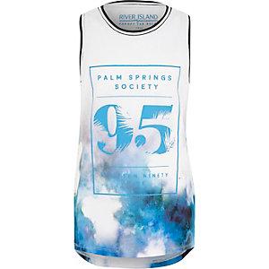 Blauw hemdje met vervaagde 'Palm Springs-print voor jongens