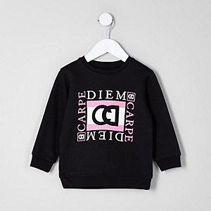 Mini - Zwart sweatshirt met 'carpe diem'-print voor jongens