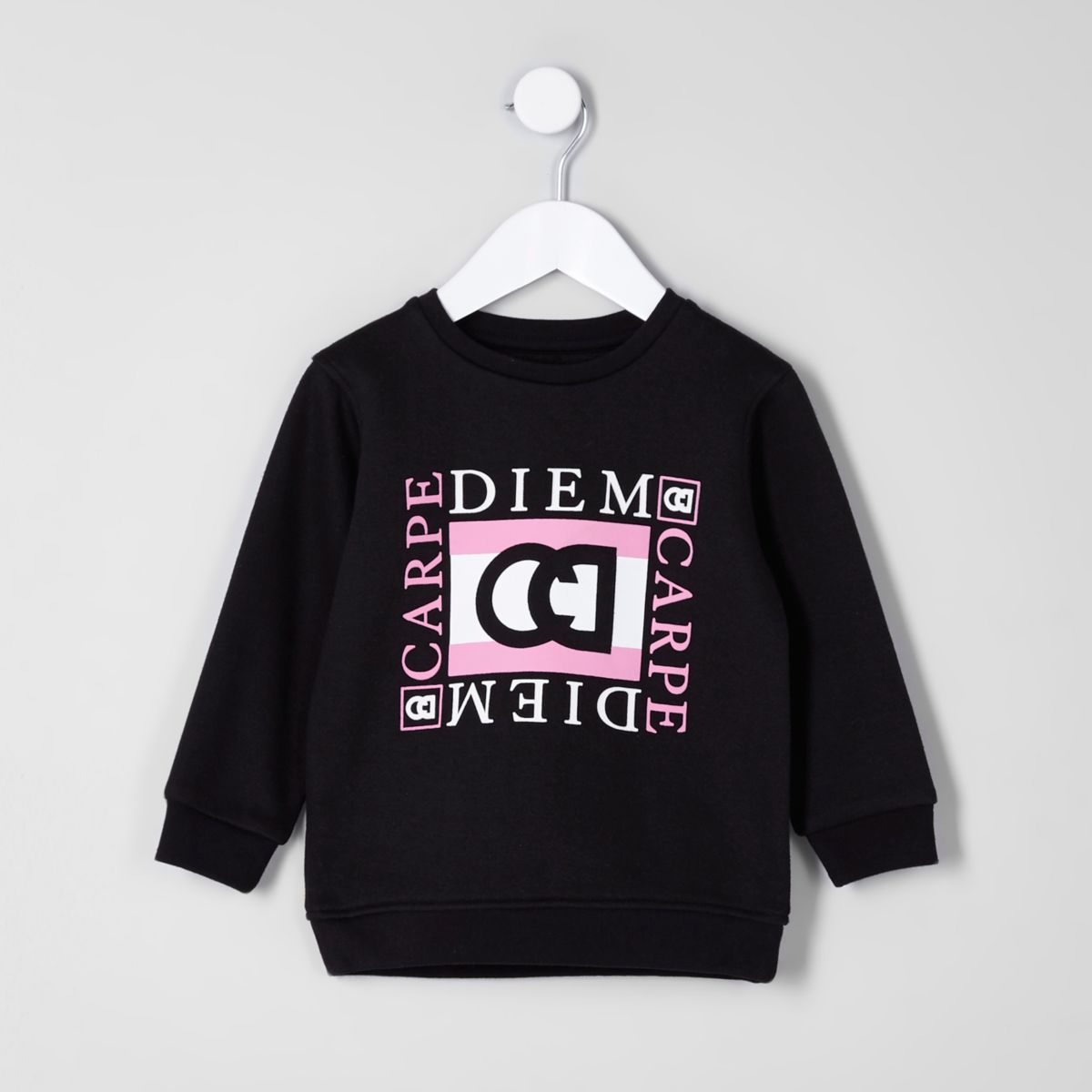 Mini boys black 'carpe diem' print sweatshirt