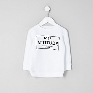 Mini boys white 'attitude' sweatshirt