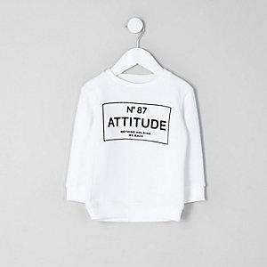 Mini - Wit sweatshirt met 'Attitude'-print voor jongens