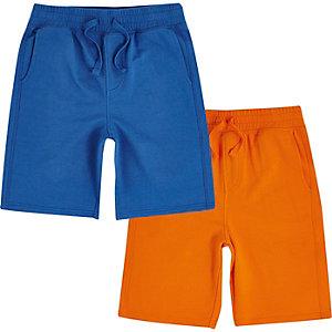 Short en jersey bleu et orange pour garçon