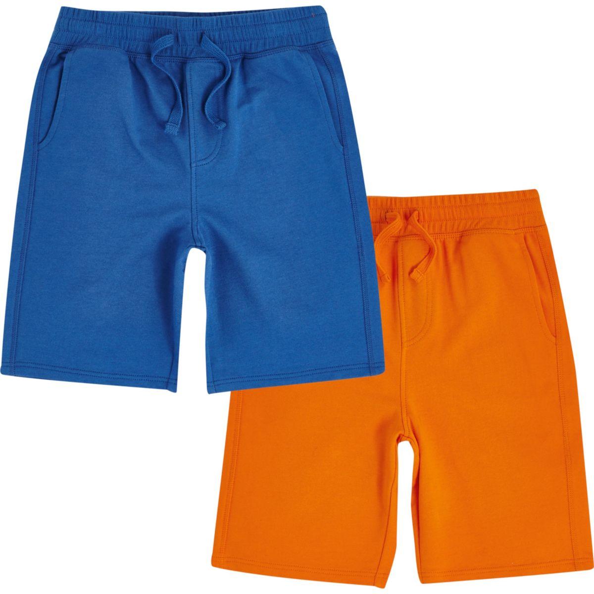 Boys blue and orange jersey shorts