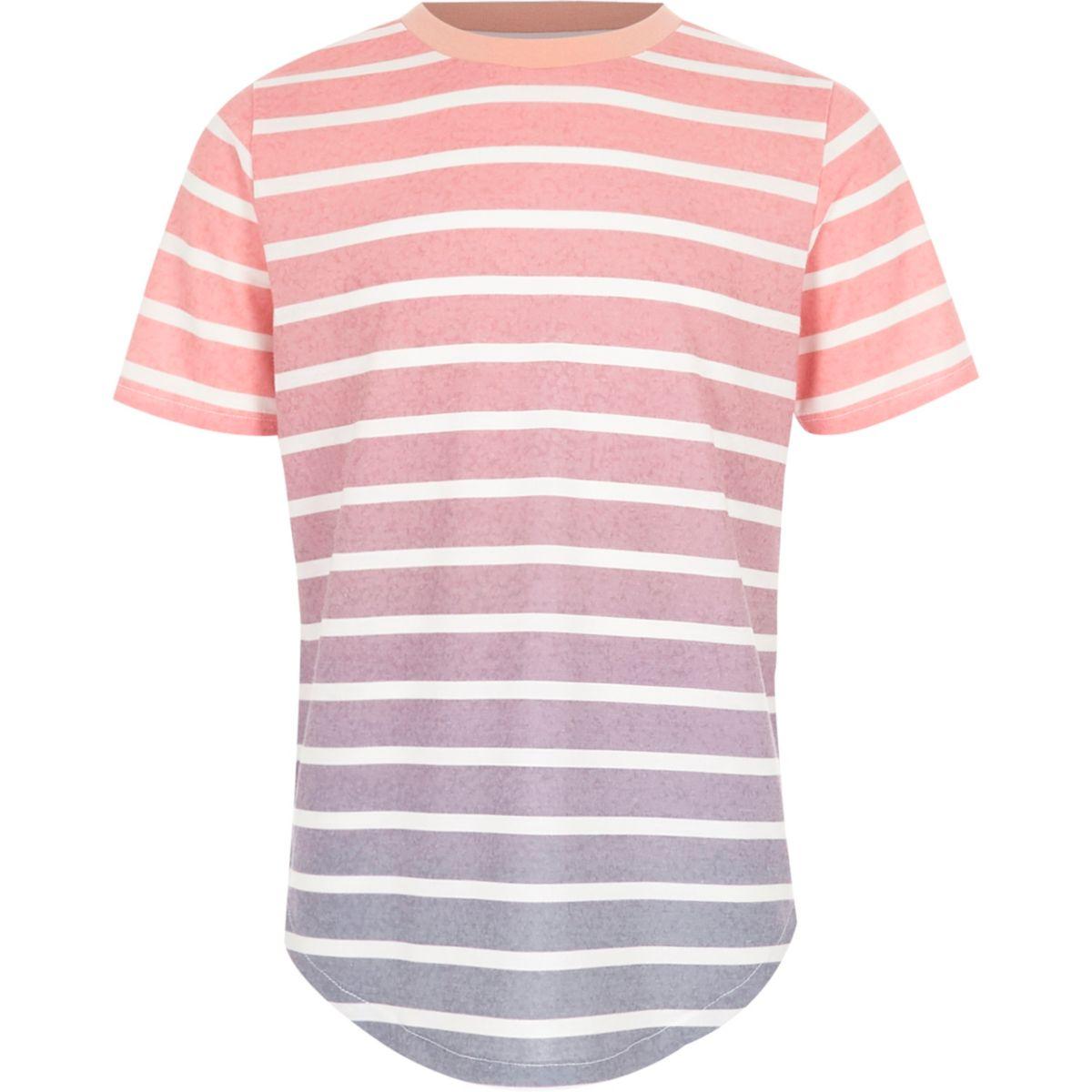 T-shirt imprimé à rayures dégradées rose et bleu pour garçon