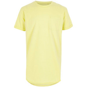Boys light yellow longline T-shirt