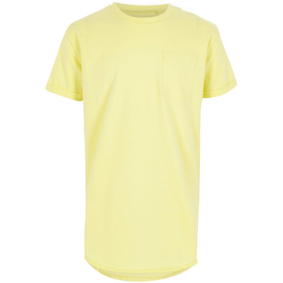 T-shirt jaune clair long pour garçon