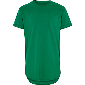 Boys green pocket longline T-shirt