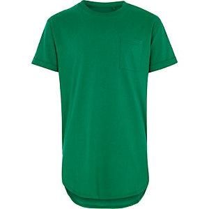 T-shirt vert long à poche pour garçon