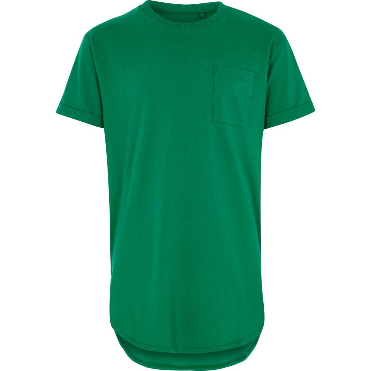 Boys green pocket longline T-shirt