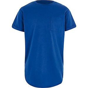Boys blue curved hem t-shirt