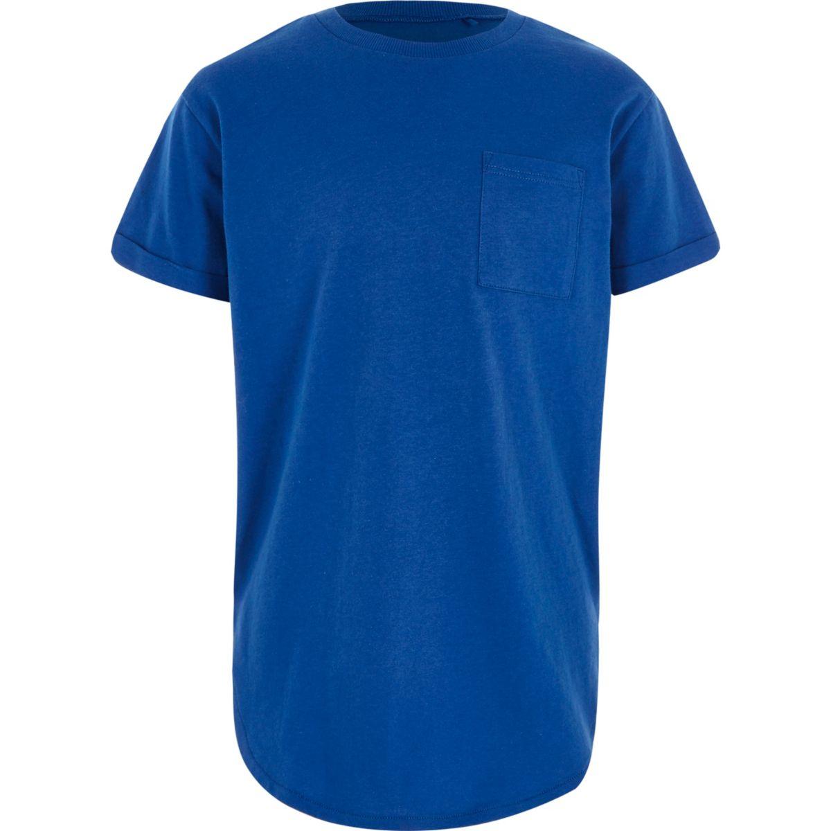 Boys blue curved hem t-shirt