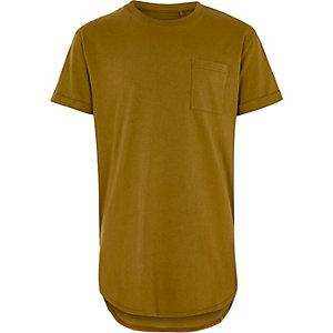 Geel lang T-shirt met zakje voor jongens