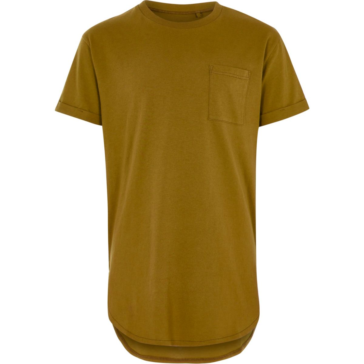 Boys yellow pocket longline T-shirt