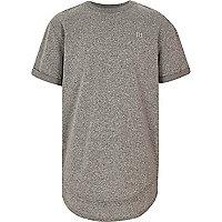 Boys grey layered hem embroidered T-shirt