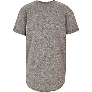 T-shirt gris brodé à ourlet effet superposé pour garçon