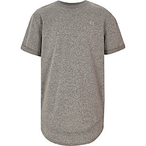 Grijs T-shirt met gelaagde zoom en geborduurd logo voor jongens