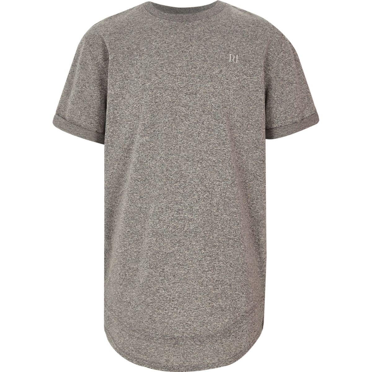 Boys grey layered hem embroidered T-shirt