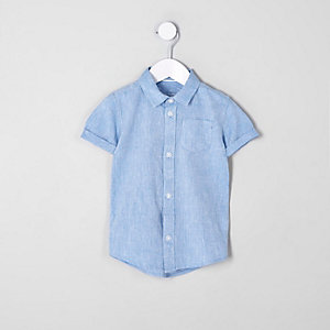 Mini boys blue linen blend shirt