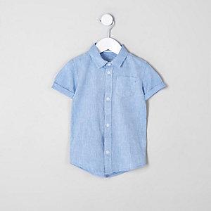 Mini - Blauw overhemd van linnenmix voor jongens