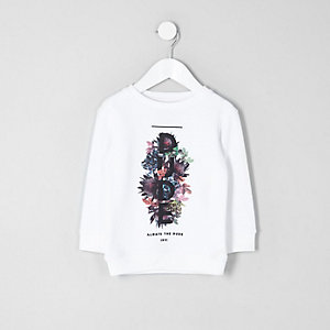 Mini boys white 'dude' print sweatshirt