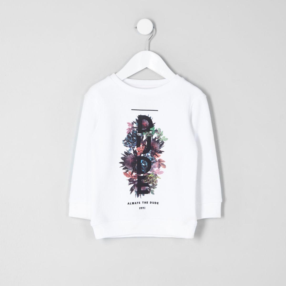 Mini boys white 'dude' print sweatshirt