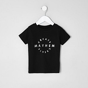 Mini boys black 'mayhem' print T-shirt