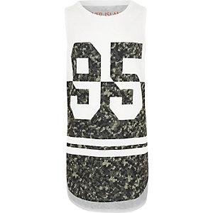 Boys white '95' camo print tank