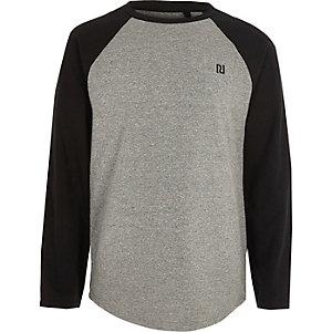 Grijs lang T-shirt met raglanmouwen voor jongens