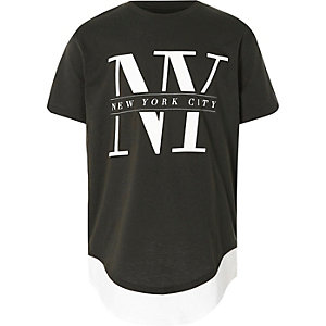 "Doppellagiges T-Shirt in Khaki ""NY"""