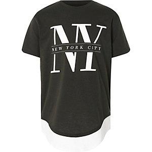 Kaki T-shirt met twee lagen en 'NY'-print voor jongens