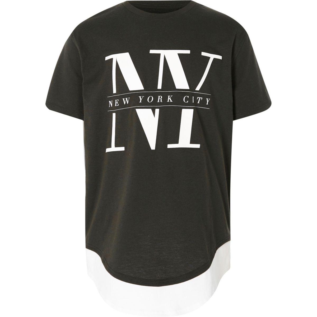 Boys khaki 'NY' print double layer T-shirt