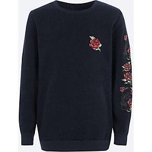 Boys navy rose print crew neck sweatshirt